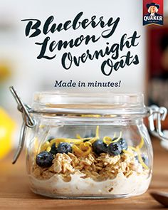 A refreshing breakfast made in minutes! Add a ½ cup of milk to ½ cup of Quaker® Oats, then top with blueberry jam, blueberries, lemon rind, and vanilla extract. Chill overnight and enjoy in the morning. Ingredients: 1/2 cup(s) Quaker® oats, 1/2 cup(s) low-fat milk, 1 tbsp blueberry jam, ½ tsp lemon rind, ¼ tsp vanilla extract, ¼ cup blueberry