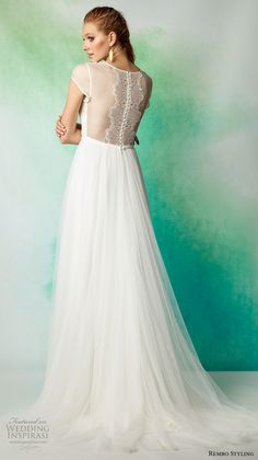 rembo styling 2017 bridal cap sleeves illusion jewel neckline light embellished bodice tulle skirt romantic a  line wedding dress illusion back sweep train (ameda) bv