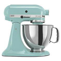 kitchenaid mixer in light turquoise