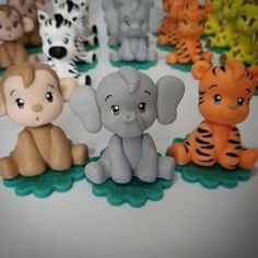 Elefante Fondant Cake Designs, Fondant Toppers, Jungle Party, Safari Party, Patisserie Fine, Animal Cupcakes, Baby Boy First Birthday, Ceramic Bisque, Polymer Clay Miniatures