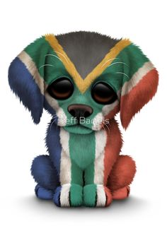 Cute Patriotic South African Flag Puppy