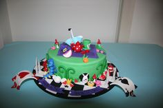 Alice in wonderland cake - single tier with all the story.. Alice, mad hatter hat, Cheshire cat, cards, queen of hearts, paint the white roses red etc.