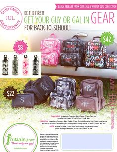 Matching Back to School Gear...Backpack, Aluminum Thermos, Insulated Lunch Tote....FREE Monogramming!!  www.myinitials-inc.com/gnonna