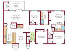 Navy Region Hawaii – Hokulani Neighborhood: 4 bedroom home floor plan.