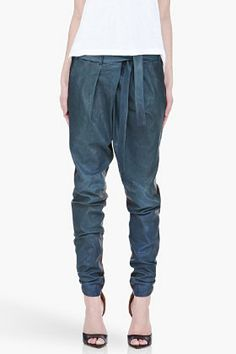 Helmut Lang Blue Combo Pleated Leather Pants for women | SSENSE