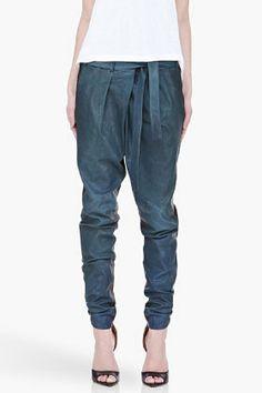 Blue leather pants