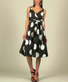 Look what I found on Black Big Polka Dot A-Line Dress - Women & Plus by Kushi by Jasko Affordable Plus Size Clothing, Cool Outfits, Fashion Outfits, Amazing Outfits, Surplice Dress, Black Dots, Cotton Dresses, Dress Skirt, Dot Dress