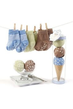 Baby Aspen  Sweet Feet Three Scoops of Socks Gift Set - Blue sold on Haute Look in pretend 'cone' with traction 'sprinkles'