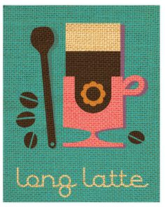 Long Latte Giclée A3 digital print image 275 mm x by GraffikHeart