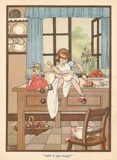 """Illustration signed """"Tinker Taylor"""" - Dolly the cake-maker Vintage Children's Books, Vintage Ephemera, Vintage Cards, Vintage Images, Children's Book Illustration, Illustrations, Japanese Drawings, Ligne Claire, West Art"""