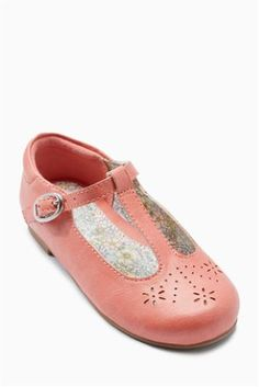Peach T-Bar Shoes (Younger Girls)