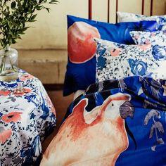 Papukaija Duvet Cover Set, featuring an illustration by Rudolf Koivu Spring Summer 2018, Duvet Cover Sets, Throw Pillows, Illustration, Toss Pillows, Quilt Cover Sets, Cushions, Decorative Pillows, Illustrations