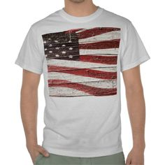 sold ! Painted American Flag on Rustic Wood Texture Tshirts by RedWhiteAndBlue1  shipping to Woodside, NY