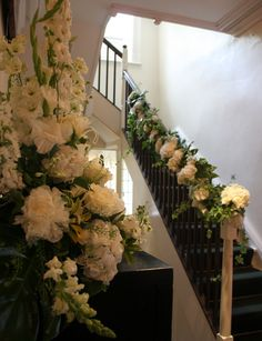 Flower Design Events: Staircase Garland for a Wedding at The Inn at Whitewell