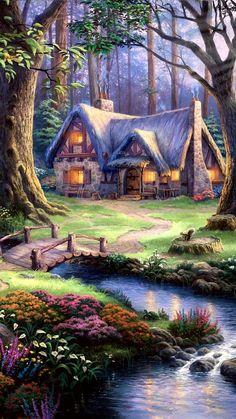 Painting - Cottage By The Creek Fantasy Art Landscapes, Fantasy Landscape, Landscape Art, Landscape Paintings, Beautiful Nature Wallpaper, Beautiful Paintings, Beautiful Landscapes, Cute Cottage, Cottage Art