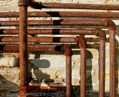 Rusty Pipes and Wall Spirited Away Movie, Industrial Sculptures, Rust Never Sleeps, Warhammer Terrain, Vaporwave Art, Abandoned Hospital, Trash Art, Industrial Architecture, Metal Pipe