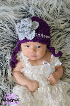 Girly aubergine purple  and gray  Rose Beanie hat by thebabypea, $12.75
