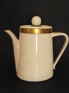 Ernest Sohn Creations Ivory Coffee Pot Gold Band with Lid Mid Century Modern  #ErnestSohn
