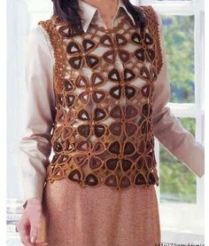 Top with motifs (Crochet Knitting Handicraft)