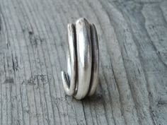 Sterling Silver Twist Band Ring Thick Solid by SunSanJewelry