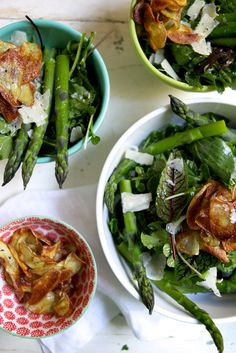 Spring Greens with Crispy Potatoes, Herbs & Asparagus -->
