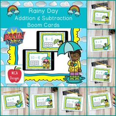 My Rainy Day Addition and Subtraction Digital Task Card set includes 40 task cards which are accessed via Boom Learning. Each digital task cards focuses basic addition and subtraction facts 0-20. All task cards are accented with bright colors and rainy day themed graphics.  #mca3designs #tpt #teacherspayteachers #boomcards #boomlearning #math #digitaltaskcards #distancelearning #taskcards #addition #subtraction #mathfacts