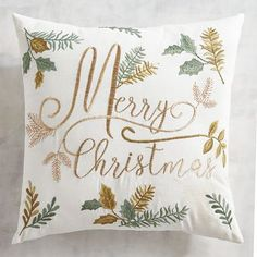 Peaceful white and greens have become the new colors of Christmas, and our pillow will be a big hit this holiday season. Embellished with metallic-enhanced embroidery, it's plumped with a poly insert and has a hidden zipper. Woodland Christmas, 1st Christmas, Christmas Ornaments, Christmas Ideas, Christmas Albums, Homemade Christmas, Christmas Inspiration, Christmas Cushions, Christmas Pillow