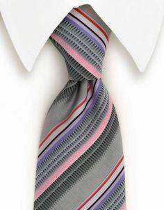 Silver, Pink, Purple & Lilac Striped Tie