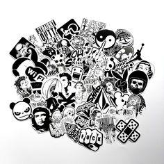 60PCS Pack Random Music Skateboard Guitar Travel Case Sticker Black