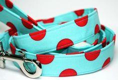 Dog Leash  Cherry Sky  Red and Aqua Blue  Polka by CreatureCollars, $24.00
