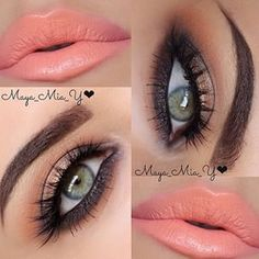 Bronze eyes and coral lips - Maya Mia Peach Eye Makeup, Bronze Eye Makeup, Smokey Eye Makeup, Eyebrow Makeup, Kiss Makeup, Cute Makeup, Pretty Makeup, Makeup Lips, Makeup Box