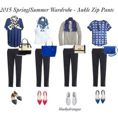 Spring/Summer Wardrobe - Ankle Zip Pants by bluehydrangea on Polyvore featuring J.Crew, Madewell, Superga, Nine West, Kate Spade and Maje