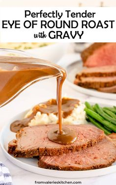 A flavorful seasoning mix and special cooking technique create this perfectly Tender Eye of Round Roast Beef with Gravy. A meal special enough for a holiday but economical enough to serve any day of the week! #roastbeef #beef #gravy #christmasrecipes Roast Beef Seasoning, Roast Beef Gravy, Beef Gravy Recipe, Roast Beef Recipes, Lamb Recipes, Cooking Recipes, Supper Recipes, Sweets Recipes, Family Recipes