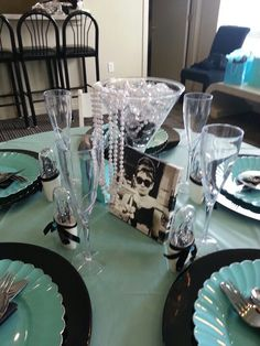 Breakfast at Tiffanys bridal shower table centerpiece