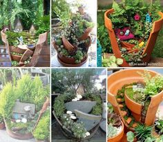Fairy gardens - love the spiral staircase!  I'll do this with my kids.