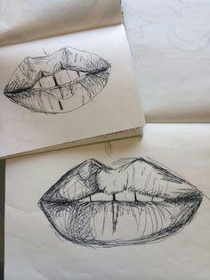 aesthetic, alternative, art, black and white, doodle, draw, drawing, girl, grunge, hipster, illustration, indie, lips, pale, pastel, soft, soft grunge, tumblr, vintage, First Set on Favim.com