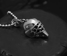 10k Rose Gold Hockey Goalie Mask Sports Pendant Necklace