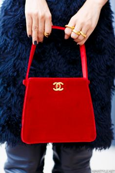 A POP OF RED | Nini's Style vintage Chanel red velvet bag