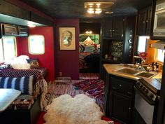 RV interiors by Paloma. Redid my boyfriends old trailer and turned it into this gem ❤️❤️❤️ #interiorsbypaloma #glamping #camping #bohemian #gypsy #spelldesigns #gypsywarrior #rv #trailer #fifthwheel #diy #interiordesign #hippy