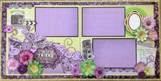 I do not scrap with the color purple very often and the reason is that I do not wear purple. (Yes, I dress to match my layout. Scrapbook Layout Sketches, 12x12 Scrapbook, Scrapbook Templates, Scrapbook Designs, Wedding Scrapbook, Scrapbooking Layouts, Scrapbook Background, Free Frames, Something To Remember