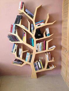Books and furniture Tree Bookshelf, Wood Bookshelves, Bookshelf Design, Built In Bookcase, Furniture Makeover, Wood Furniture, Gfx Design, Etagere Design, Creative Bookshelves