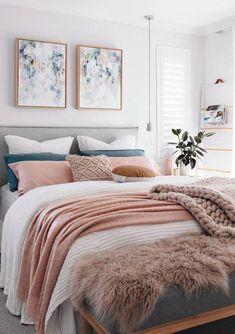White Pink Feminine Bedroom Inspiration Cozy Beds - home decor cozy - Bedroom Scandinavian Bedroom Decor, Simple Bedroom Decor, Bedroom Decor For Couples, Decoration Bedroom, Cozy Bedroom, Bedroom Ideas, White Bedroom, Bedroom Beach, Beautiful Bedrooms For Couples
