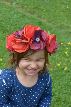 Big red flower crown So poppy , bold flower crown , amazing folklore flower crown,bridal flower crown, poppy flowers,recycled materials by denimize on Etsy