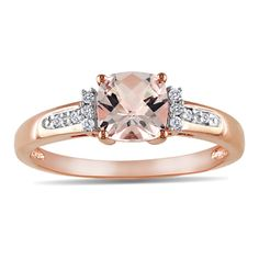 @Overstock.com - Miadora 10k Rose Gold Morganite and Diamond Accent Ring - Cushion checkerboard-cut morganite, round-cut diamond ring10k pink gold engagement jewelryClick here for ring sizing guide  http://www.overstock.com/Jewelry-Watches/Miadora-10k-Rose-Gold-Morganite-and-Diamond-Accent-Ring/7647956/product.html?CID=214117 $206.39