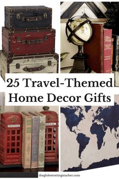 25 Travel-Themed Home Decor Gifts Every Traveler is Sure to Love! Help the travel lover in your life express their passion for travel by decorating their home with these wonderful wanderlust decor gifts!  #homedecor #travel #wanderlust #homedesign #homedecorideas #GIFTIDEA