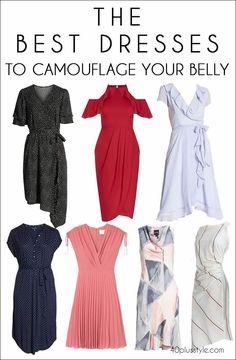 Plus Size Fashion for Women Over 40 - Fashion Trends Apple Body Shape Outfits, Apple Shape Fashion, Dresses For Apple Shape, Pear Shaped Outfits, Dress To Hide Belly, Dresses To Hide Tummy, Fashion Over 40, 50 Fashion, Fashion Outfits