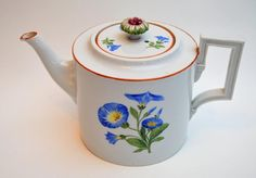 1 - Teapot with Lid has chip on spout end; - Saucers has hair crack; 1 - Large Coffee Pot with Lid has micro chip on spout; Chocolate Pots, Chocolate Coffee, Blue Plates, Tea Time, Tea Pots, Dishes, Antiques, Tableware, Ebay