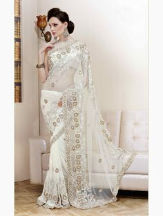 White & cream Colour net saree