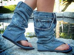 "buzzfeed:  These are ""Blue Denim Jean Open Toe Mid Calf Sandals"" and they are horrible."