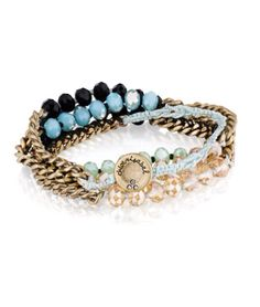"""Bead+charm multi-wrap bracelet, featuring bold jet black, champagne,+ opalescent blue glass beads. -antique gold plated -nickel free -27.5""""-30"""" adjustable length. Ask me or visit my website! #chloeandisabel #jewelry"""